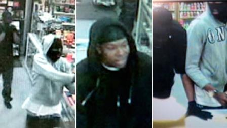Los Angeles investigators are trying to track down armed robbers caught in the act by a surveillance camera in March.