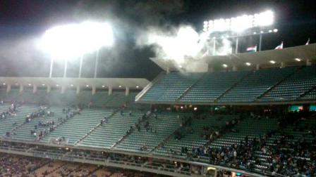 Firefighters quickly extinguished a small storage room fire at Dodger Stadium during Saturday nights game.