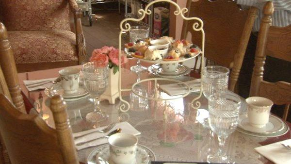Across the street from City Hall is a traditional Victorian tea room called Bella's Teas & Treats.