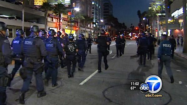 Crowd, LAPD clash at Hollywood film premiere