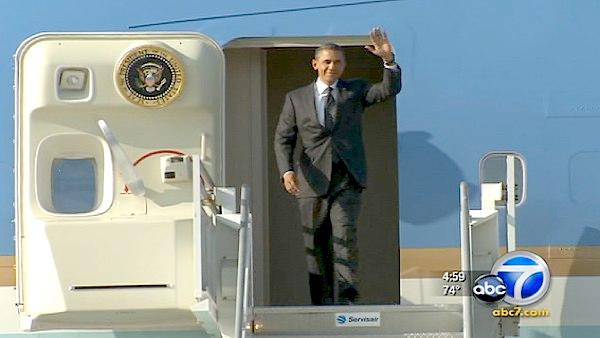 President Barack Obama arrives in LA