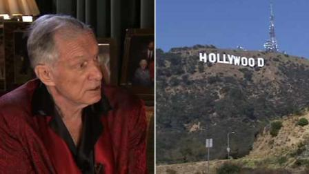 Hugh Hefner is getting a unique thank-you note for helping save the Hollywood sign.