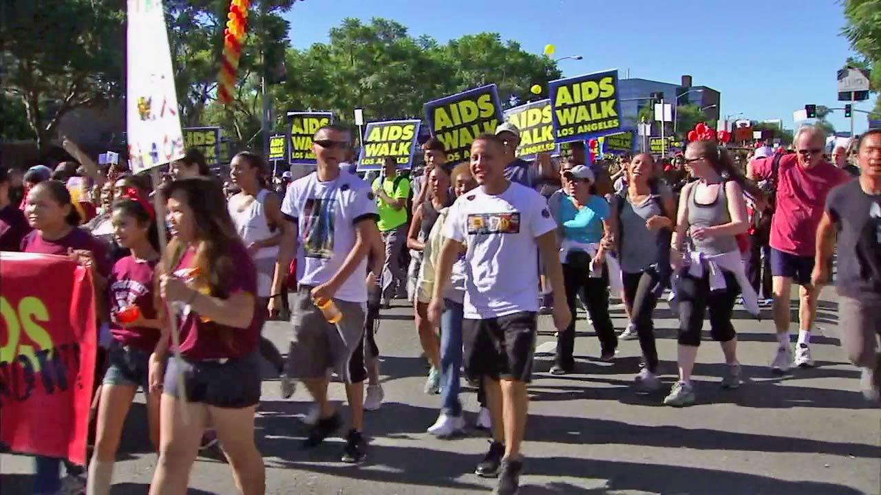 Nearly 30,000 people converged on the city of West Hollywood for the 27th annual AIDS Walk Los Angeles on Sunday.