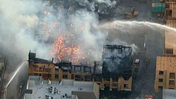 A 3-story apartment building that was under construction caught on fire Thursday, October 27, 2011, in Carson.