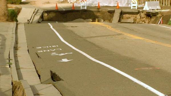 A sink hole in San Pedro is getting worse and more steps are being take