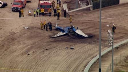 A small plane crashed near the Pomona Fairgrounds on Friday, killing at least one person on board.