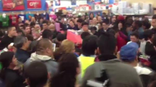 At least 10 people were hurt at a Porter Ranch Wal-Mart when a woman allegedly blasted pepper spray into the crowd so she could get her hands on an Xbox.