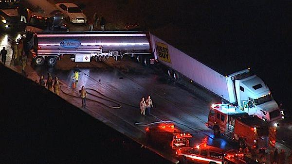 Several big rigs collided in the truck lane tunnel on the southbound Golden State (5) Freeway at the eastbound Antelope Valley (14) Freeway on Monday, Dec. 12, 2011.