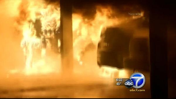 More than 30 arson fires destroyed cars and homes in Hollywood and North Hollywood.