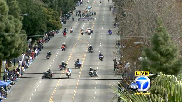 The Los Angeles Police Department motorcycle drill team participates in the 27th a
