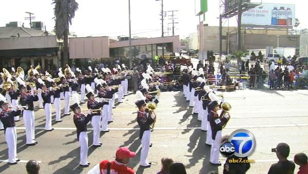 The Beckman High School Band performs in the 27th annual Kingdom Day Parade in South Los Angeles on Monday, Jan. 16, 2012.