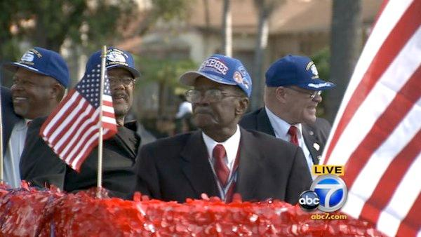 The Tuskegee Airmen Inc. Los Angeles Chapter participates in the 27th annual Kingdom Day Parade in South Los Angeles on Monday,
