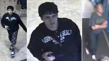 Surveillance images show two suspects behind a several laptop computer thefts outside two campus dining halls at UCLA.