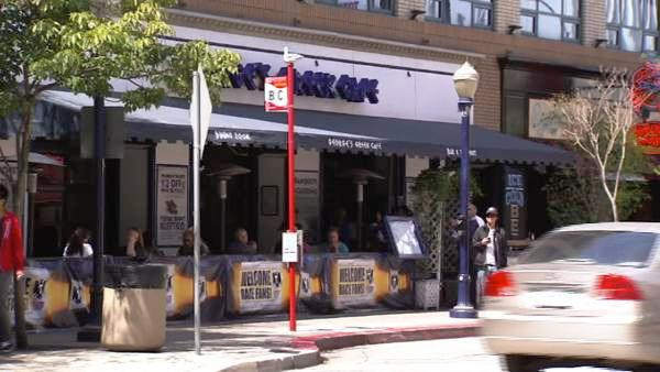 Around the corner is Pine Avenue, where you'll find just about any type of food you want. For example, there's George's Greek Cafe.