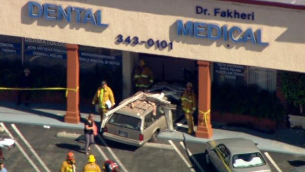 A car crashed into a building in Reseda on Thursday, April 19, 2012, injuring several people.