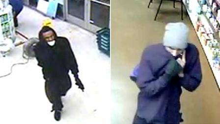 Suspects wanted in a string of robberies are shown in surveillance still images provided by the Los Angeles Police Department.