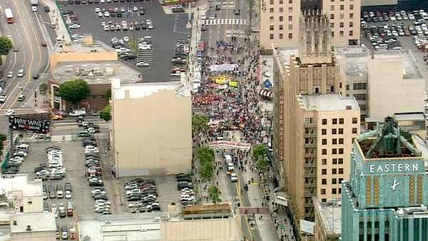 The scene of a May Day march down Broadway in downtown Los Angeles on Tuesday, May 1, 2012.