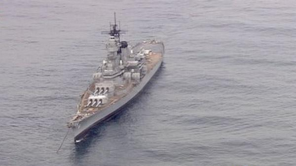 The USS Iowa battleship is seen off the coast of San Pedro on Wednesday, May 30, 2012.