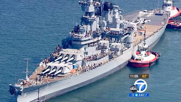 USS Iowa arrives at Port of Los Angeles