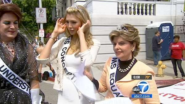 Jenna Talackova (center), a transgender Canadian beauty queen, and attorney Gloria Allred (right) at the 42nd annual L.A. Pride Parade held in West Hollywood on Sunday, June 10, 2012.