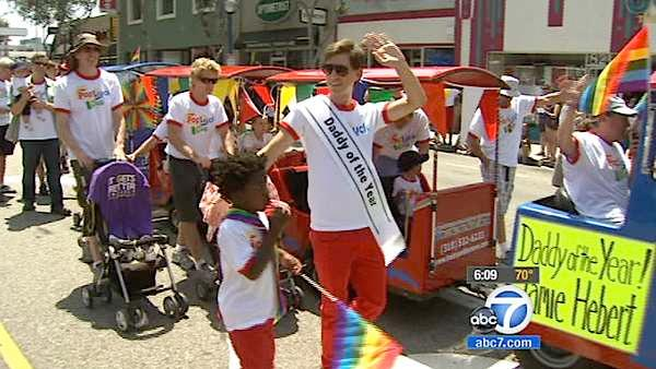 Participants of the 42nd annual L.A. Pride Parade held in West Hollywood march down the route on Sunday, June 10, 2012.