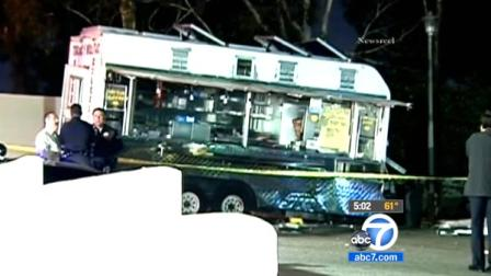 Police tape ropes off the scene of a deadly car crash involving a taco truck in Boyle Heights on Saturday, June 16, 2012.