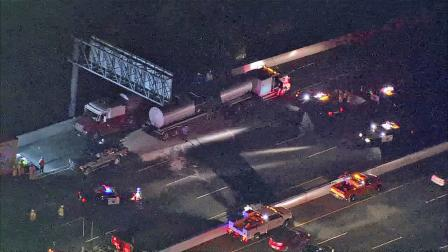 A truck that spilled asphalt onto the southbound 710 Freeway in Lynwood is seen in this photo from June 22, 2012.