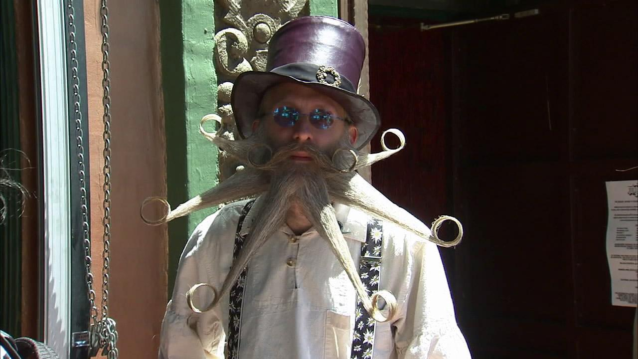 A participant of the second annual Los Angeles Beard and Mustache Competition is seen at the event at the Belasco Theater in downtown Los Angeles on Sunday, June 24, 2012.