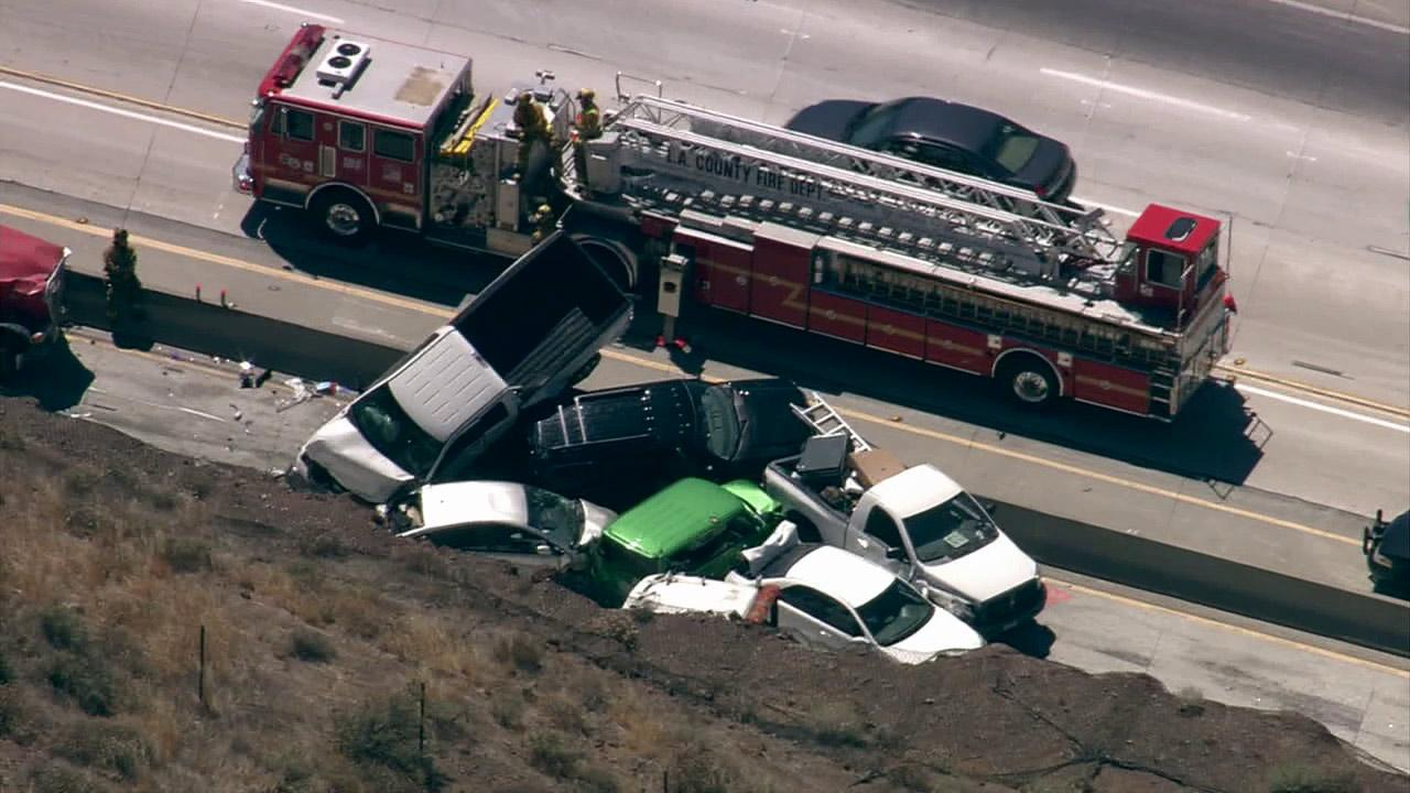 Authorities say 19 vehicles were involved in an accident on the southbound 14 Freeway in Agua Dulce on Tuesday, June 26, 2012.