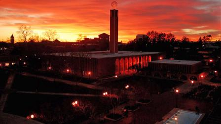 File photo of the sun setting over the University of Southern California campus.
