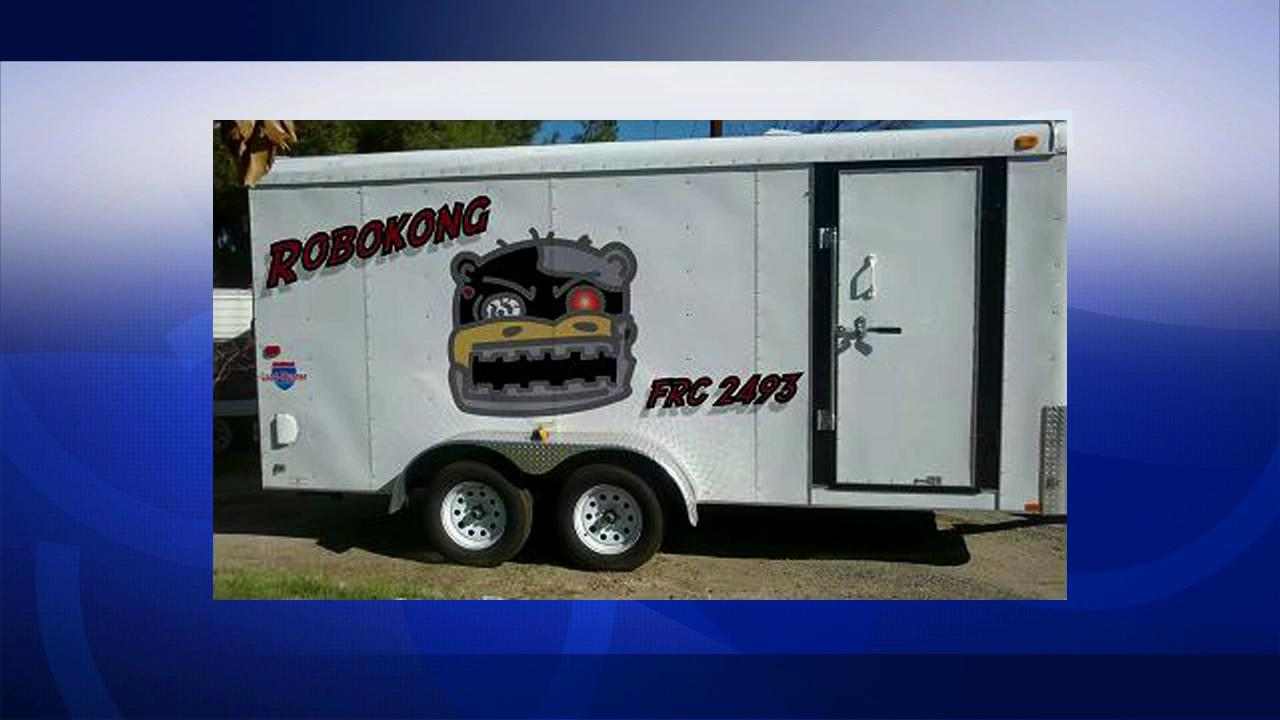 A trailer containing equipment, including robots, belonging to a group of science students in Rivierside is seen in this file photo. The trailer was stolen in late June 2012.