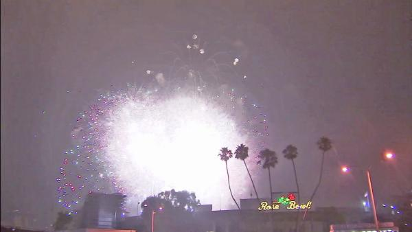 Fireworks are seen in the sky outside the Rose Bowl for Pasadena's annual Americafest on Wednesday, July 4, 2012.