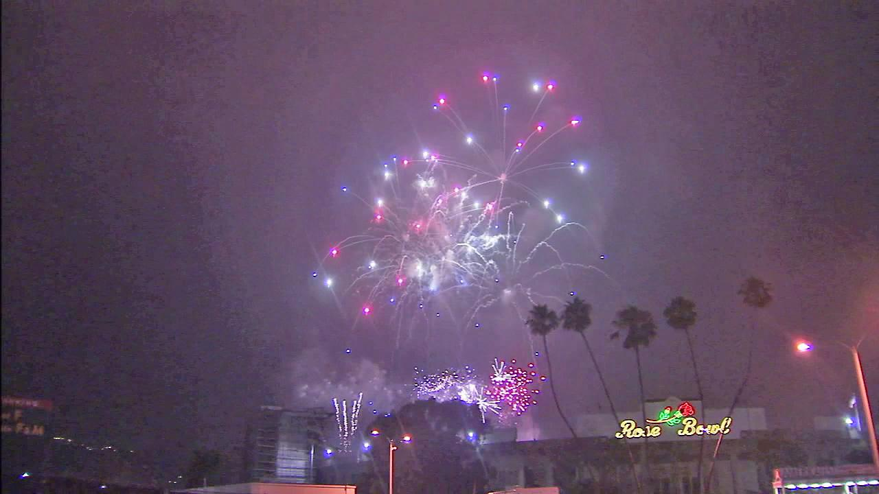 Fireworks are seen in the sky outside the Rose Bowl for Pasadenas annual Americafest on Wednesday, July 4, 2012.