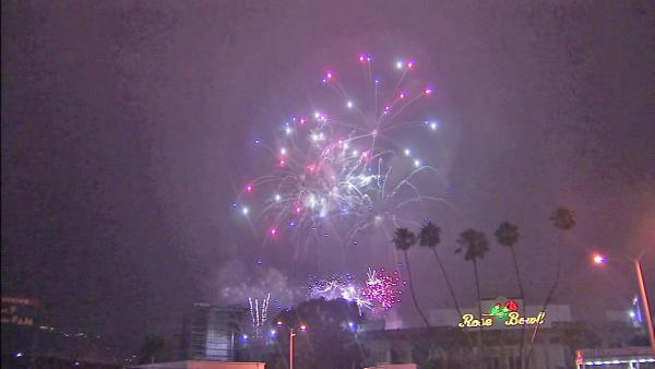 Fireworks are seen in the sky outside the Rose Bowl for Pasadena's annual Americafest on Wednesday,