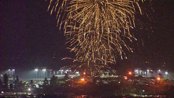 Fireworks are seen in the sky outside Dodger Stadium on Wednesday,