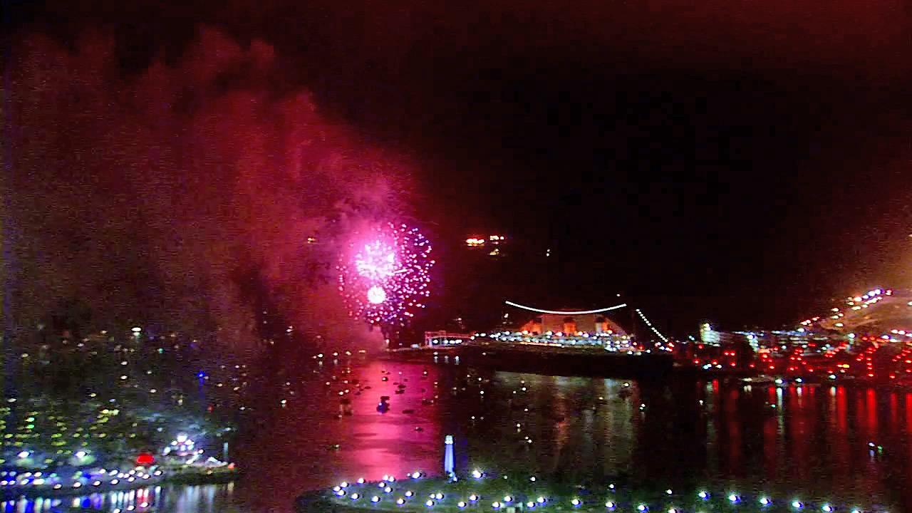 Fireworks are seen in the sky near the Queen Mary in Long Beach on Wednesday, July 4, 2012.