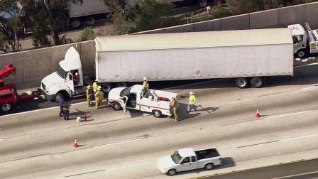 A jackknifed big rig caused major delays on the westbound 60 Freeway on Thursday, July 5, 2012.