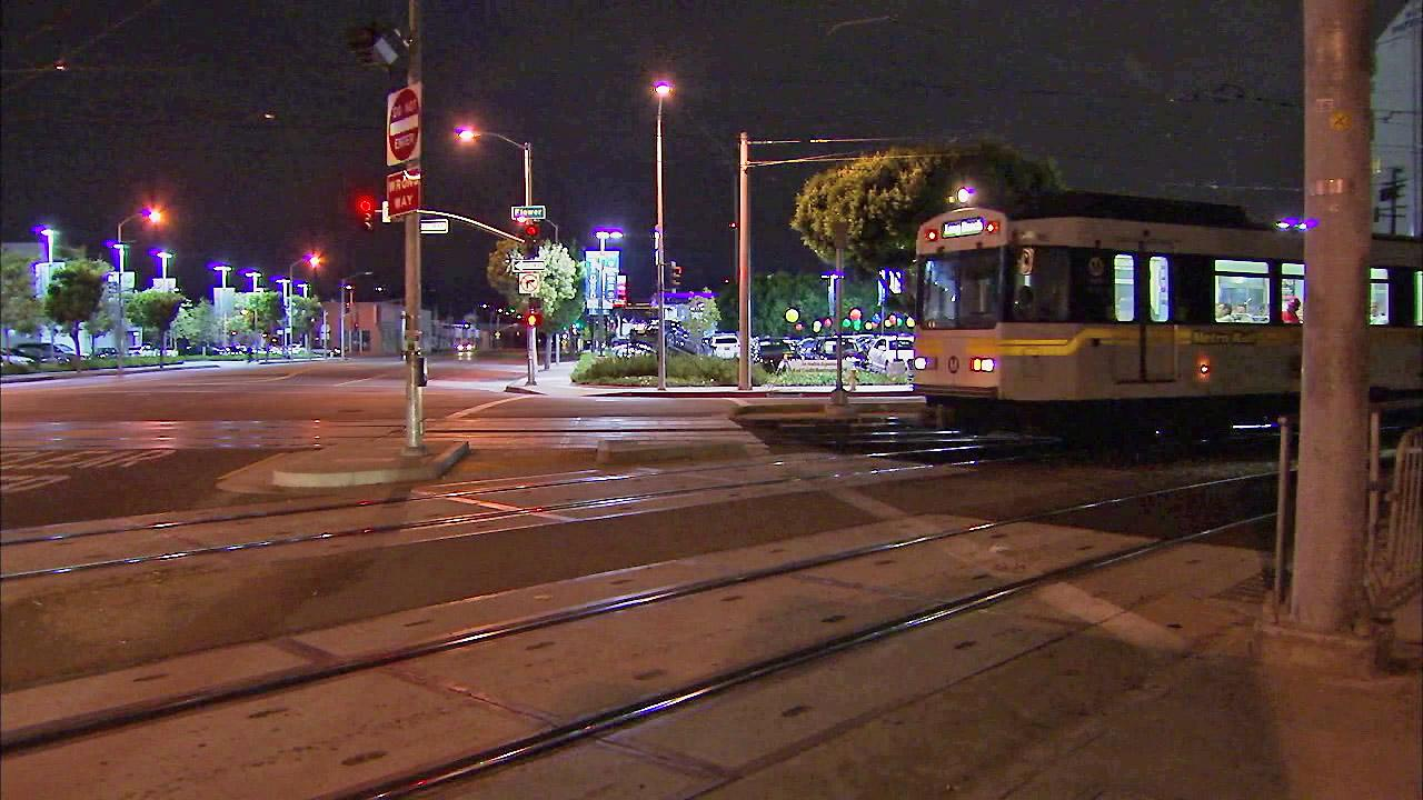 The Expo Line at Washington Boulevard and Flower Street in Downtown LA is seen in this file photo from July 2012. The state has ordered a section of track at the intersection to be repaired following derailments concerns.