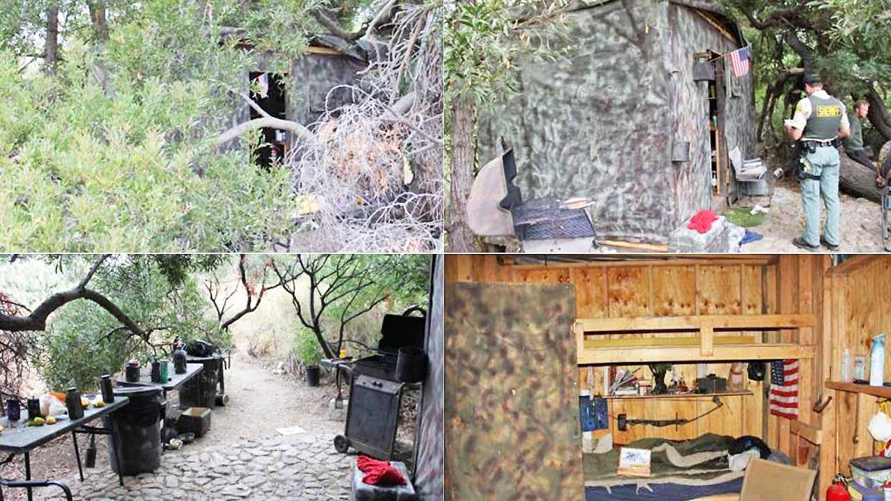 Los Angeles County Sheriffs Department Parks Bureau deputies found an occupied small structure built in a remote area of the Tujunga Ponds Wildlife Sanctuary on July 16, 2012, near the 210 Freeway and Wentworth Street in Sunland.