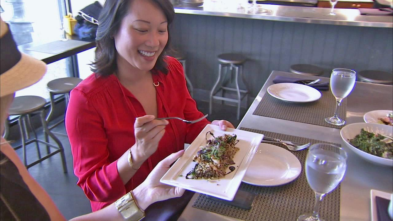 Stacey Sun, director of dineLA, takes in a meal at Industriel, a restaurant in downtown Los Angeles, during Restaurant Week on Monday, July 23, 2012.