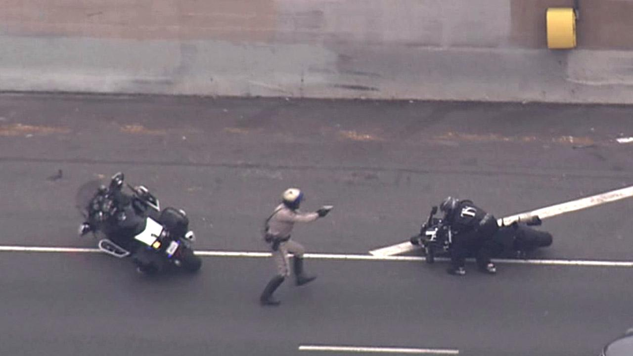 A motorcyclist was taken into custody after leading the California Highway Patrol on a high-speed chase Tuesday, July 24, 2012.