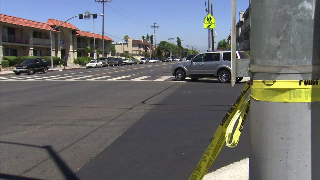 The crosswalk in Panorama City where a pedestrian was killed by a hit-and-run driver is seen on Sunday, July 29, 2012.