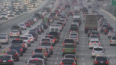 Traffic is seen backed up on the San Diego (405) Freeway in Los Angeles in this undated file photo.