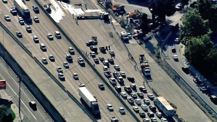 Traffic is seen on the eastbound 10 Freeway following a big rig crash on Tuesday, August 7, 2012.