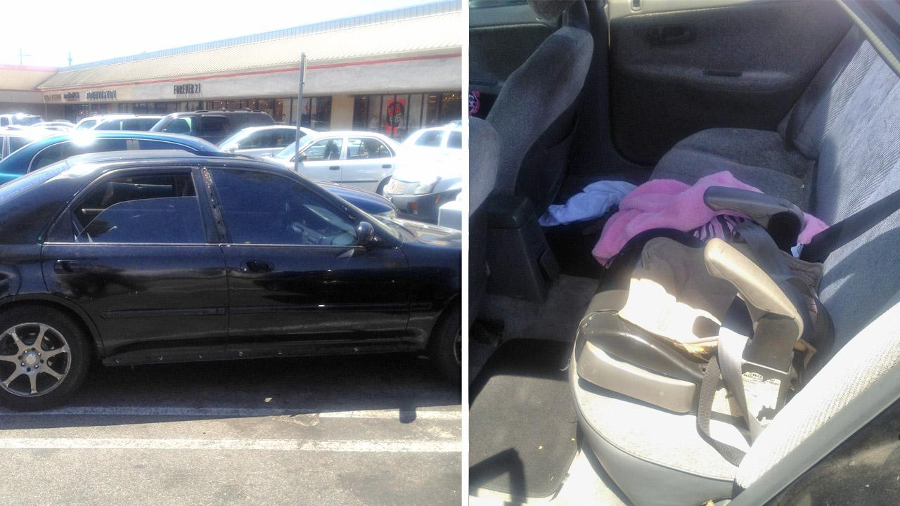 A 1-year-old boy and his 2-week-old sister had to be rescued from a hot parked car while their mother was shopping, authorities said Saturday, Aug. 11, 2012.