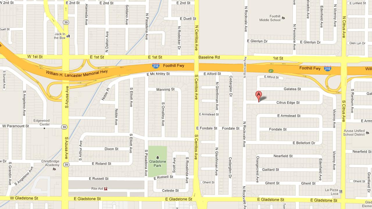 A map indicates the location where a man tried to kidnap a 14-year-old girl who was walking on Orangecrest Avenue north of Citrus Edge Street in Azusa on Thursday, Aug. 16, 2012.