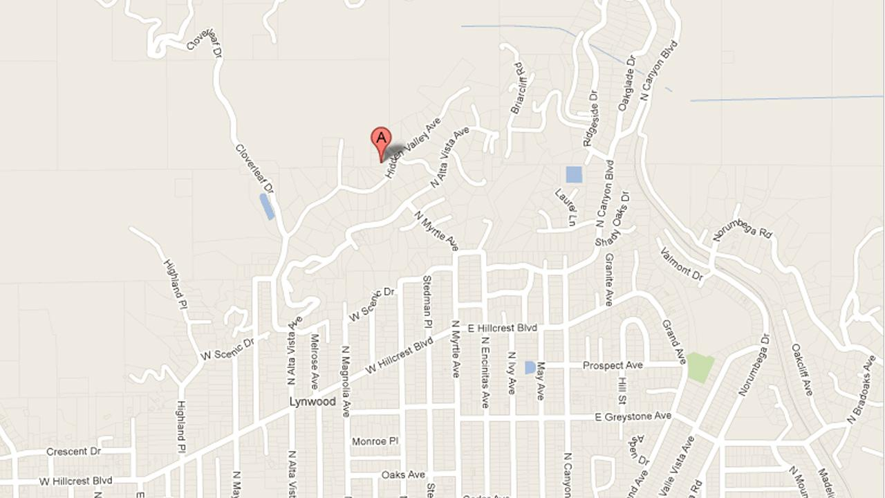 A map shows Hidden Valley Road in Monrovia where a bear was spotted at the home of former Mayor Lara Larramendi on Sunday, August 26, 2012.