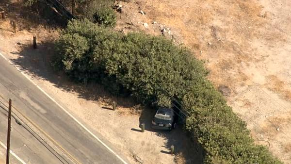 A car is seen after it crashed into bushes in the Santa Clarita area during a pursuit  on Friday, August 31, 2012. Police chased a male DUI suspect and a f