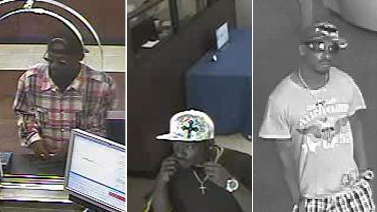 A bank robber suspect nicknamed the Haggler Bandit is shown in multiple still shots from surveillance images.