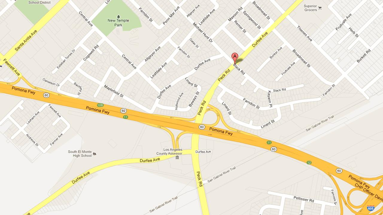 A map indicates the location where a Los Angeles sheriffs deputy was shot on Durfee Avenue and Peck Road in South El Monte on Sunday, Sept. 2, 2012.